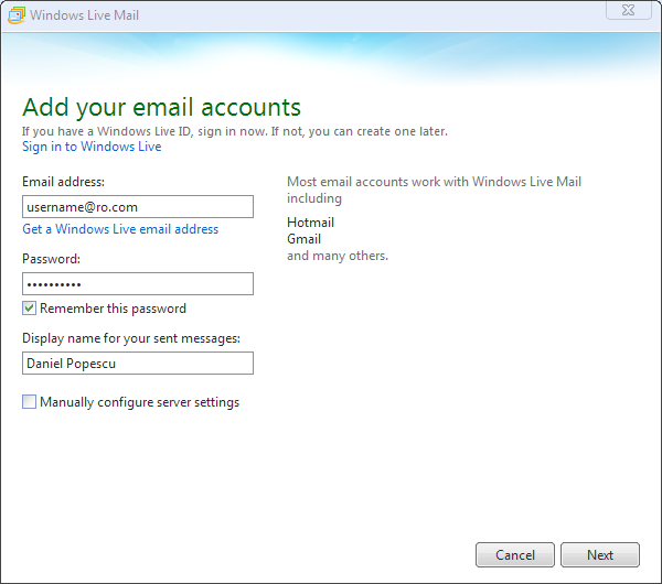 Windows Live Mail Step 1