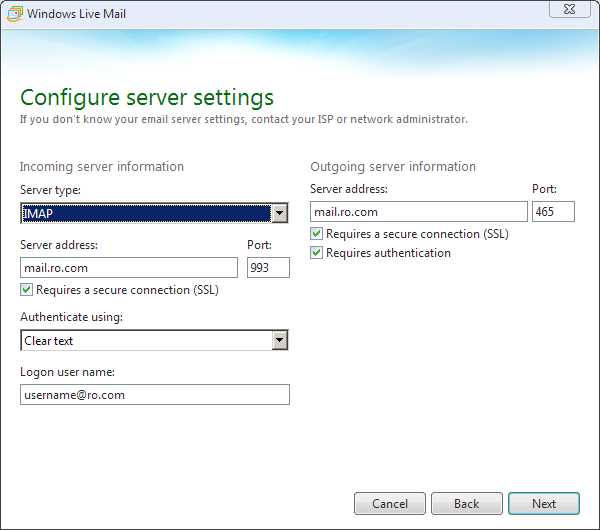 Windows Live Mail Step 2